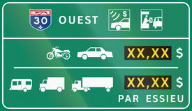 Toll Panel in Canada Stock Image