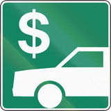 Toll Payment in Canada. Guide and information road sign in Quebec, Canada - Toll payment vector illustration