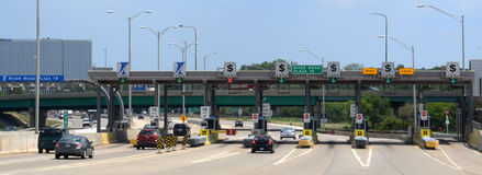 Toll plaza at River Road, near Chicago Royalty Free Stock Photos