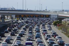 Toll plaza to San Francisco traffic jam on a Spring morning. From Oakland toll plaza to San Francisco Ca. City traffic jam royalty free stock images