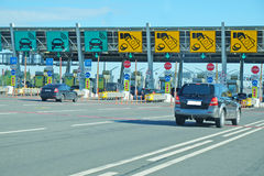 The toll road. Fare on the toll road royalty free stock image