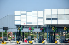 Toll road in Italy. Autostrade & x28;motorway, highway& x29; Toll in Italy Stock Photo