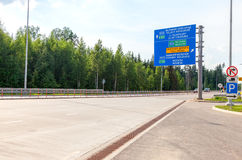 Toll road. Russian highway number M11 Royalty Free Stock Images