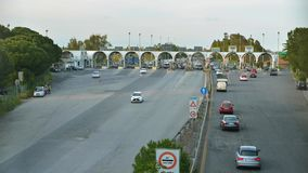 Toll road station time lapse at day time in Italy stock footage