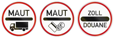 Toll Signs In Germany. German traffic signs at toll station and roads with charge. Zoll and Duane mean toll, Maut means road charge Royalty Free Stock Image