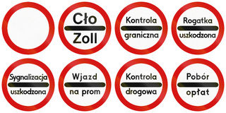 Toll Signs in Poland. Collection of Polish traffic signs including no thoroughfare and various stop signs for toll collection, police control, etc Stock Photo