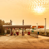 Toll stations and vehicles Royalty Free Stock Image