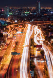 Tollway traffic in the night Royalty Free Stock Image