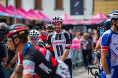 Tolmezzo, Italy May 20, 2018: Tom Doumulin, SunWeb Team, shortly before a hard montain stage. From Tolmezzo to Sappada of Tour Of Italy 2018 stock photography