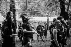 Tolmin, Slovenia - July 25th: Heavy Metal Fans headbanging on the Metaldays on July 24th, 2016 in Tolmin, Slovenia. Heavy Metal Fans headbanging on the Metaldays Royalty Free Stock Photography