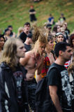 Tolmin, Slovenia - July 25th: Heavy Metal Fans headbanging on the Metaldays on July 24th, 2016 in Tolmin, Slovenia. Heavy Metal Fans headbanging on the Metaldays Royalty Free Stock Photo