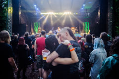 Tolmin, Slovenia - July 24th: Heavy Metal Fans kissing on the Metaldays Festival on July 24th, 2016 in Tolmin, Slovenia Stock Image
