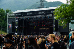 Tolmin, Slovenia - July 25th: Israelian death metal band Orphaned Land performing at Metaldays Festival on July 25th, 2016 in Tolm Stock Photos