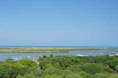 Tolomato river and atlantic ocean in st augustine, FL USA Stock Photography