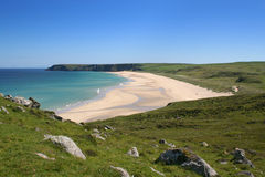 Tolsta beach. Near the village of Tolsta in July. Lewis, Western Isles, Scotland royalty free stock photo