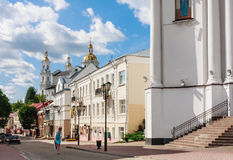 Tolstoy Street, overlooking the Holy Dormition Cathedral, Vitebsk Stock Photos