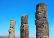 Toltec Atlantes, Tula de Allende, Hidalgo state, Mexico. Toltec Atlantes - columns on top Pyramid of Quetzalcoatl, Tula de Allende, Hidalgo state, Mexico. UNESCO royalty free stock photography