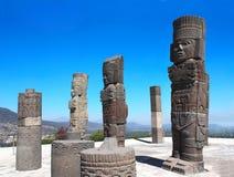 Toltec Atlantes, Tula de Allende, Hidalgo state, Mexico. Famous Toltec Atlantes - columns on top Pyramid of Quetzalcoatl, Tula de Allende, Hidalgo state, Mexico royalty free stock photo