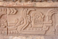 Toltec God Engraving in Tula Mexico stock photo