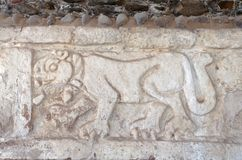 Toltec Jaguar Engraving Tula Mexico Royalty Free Stock Images