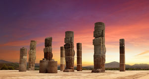 Toltec Sculptures in Tula, Mexico. Toltec Sculptures in Tula sunset, Mexico royalty free stock photography