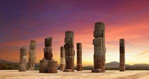 Toltec skulpturer i Tula, Mexico Royaltyfri Fotografi