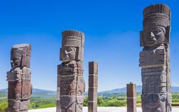 Toltec warrior statues topping on Quetzalcoatl pyramid, Tula archaeological site, Mexico Royalty Free Stock Photos