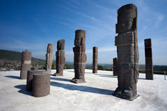 Toltec warriors. Ancient ruins of Tula de Allende Stock Images