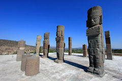 Toltec warriors columns topping the pyramid of Quetzalcoatl in Tula Royalty Free Stock Photos