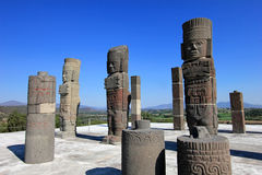 Toltec warriors columns topping the pyramid of Quetzalcoatl in Tula Stock Photography
