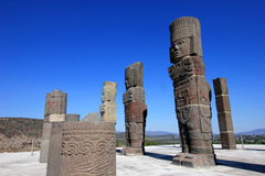 Toltec warriors columns topping the pyramid of Quetzalcoatl in Tula Royalty Free Stock Images