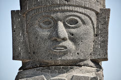 Toltec Statue in Tula, Mexico. Close view of Toltec Sculpture head in Tula Ruins, Mexico Stock Photo