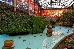 Toluca Botanical Gardens Mexico. A pool with plant vases inside the plants and glass windows of Toluca Botanical Gardens, Mexico royalty free stock image