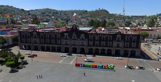 Toluca government palace. Aerial view of the government palace in the city of Toluca mexico, building where the governor and some other administrative personal stock photo