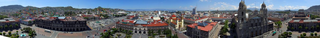 Toluca mexico downtown. Panoramic aerial view o toluca mexico city downtown, main historic buildings as a cathedral, the government palace and the legislative Royalty Free Stock Photos