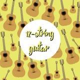 Tolv akustiska gitarrer för rad på kulör bakgrund Arkivbild