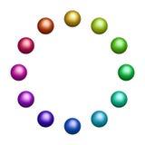 Tolv färgade bollar Royaltyfri Bild
