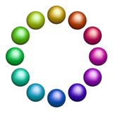 Tolv färgade bollar Royaltyfria Bilder