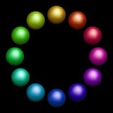 Tolv färgade bollar Arkivfoton