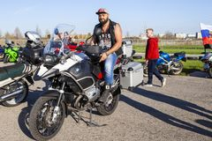 TOLYATTI, RUSSIA, MAY 09, 2018: SHOW OF BIKERS DEDICATED TO VICTORY DAY. stock photo