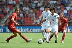 Tomáš Necid, Kwak Taehwi, Vladimír Darida. PRAGUE 05/06/2015 _ Friendly match Czech Reublic - South Korea Stock Photography