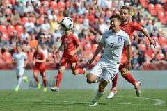 Tomáš Sivok, Heungmin Son. PRAGUE 05/06/2015 _ Friendly match Czech Reublic - South Korea Stock Photo