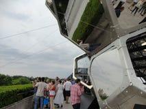 Tomà ¡ s Saraceno på taket: Molnstad 11 Arkivfoto