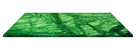 Tom överkant av naturliga gröna marmorhyllor som isoleras på vitbaksida arkivbild