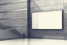 Tom advertizingaffischtavla på betongväggen med moment upp stock illustrationer