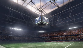 Tom amerikansk fotbollsarena 3D i ljusa strålar framför Royaltyfria Foton