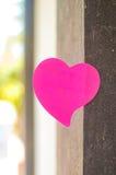 Tom anteckningsbok eller klibbiga anmärkningar som är rosa med utomhus- solljusbackgr arkivbild