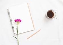 Tom anteckningsbok och blomma Arkivfoton