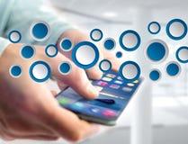 Tom app-manöverenhet som göras av den visade blåttknappen på en manöverenhet Royaltyfri Bild