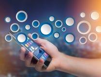 Tom app-manöverenhet som göras av den visade blåttknappen på en manöverenhet Royaltyfri Foto
